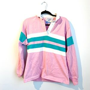 Vintage Pink and Green Rugby Shirt | Lands End